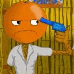 Дуэль на пистолетах между двумя оранжевыми человечками