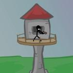 Стикмен на защите артиллерийской башни