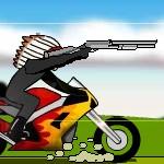 Индеец на мотоцикле в крутой стрелялке